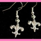 Silver Fleur De Lis Earrings Bridal Free Black Bag Free USA Shipping