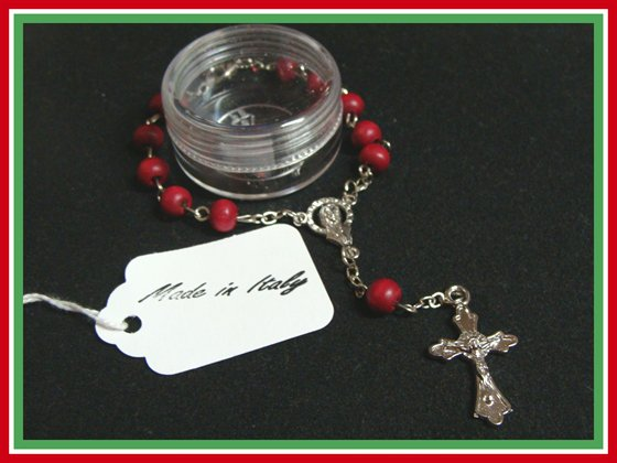 Authentic Italian Rosary Bracelet Rosewood Vatican Blessed Catholic c-1