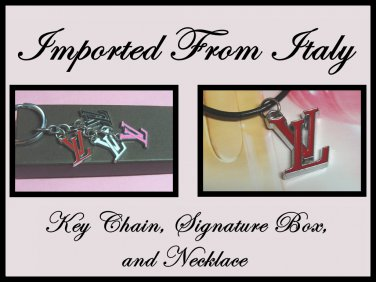 2x Necklace Key Chain Classic Red Inspired Letter V Box Imported c-14