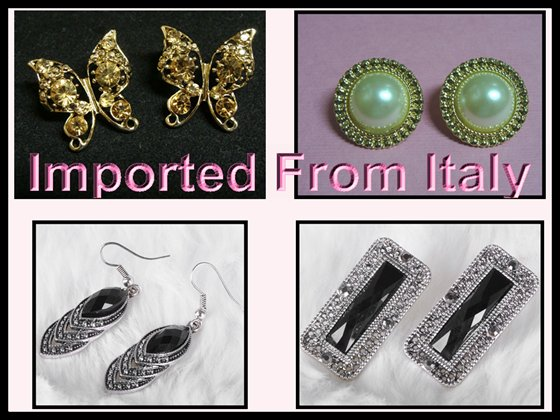 4x Earrings Pearl Black Amber Marcasite Italian Imported Set c-16