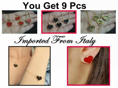 Wholesale Lot Earrings Heart Necklace Bracelet Imported Italy c-9