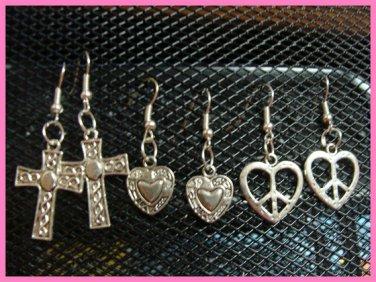 3x Earrings Cross Heart Peace Sign Imported Italian Free Designer Style y-16