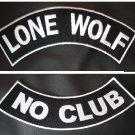 Lone Wolf NO CLUB BIKER WHITE ROCKER Back PATCH SET Biker Motorcycle Patches New