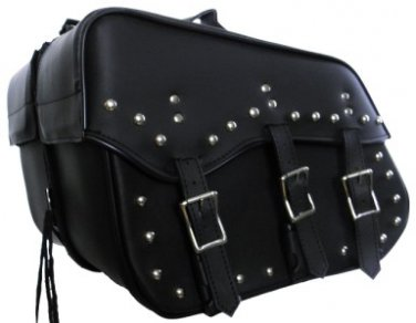 Detachable Motorcycle Saddlebags 3 Strap Quick release Zip Off  Studded  # 213