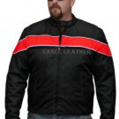 Men's Motorcycle Jacket Coat front Reflective stripes Black & Red Zip out Liner