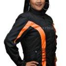 Womens Motorcycle Jacket Black & Orange Vents Zipout Liner New Rain/water proof