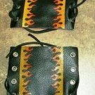 Motorcycle Handlebar Grip covers soft Leather Black with flames one pair new