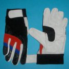 Work gloves mechanic gloves real leather palm with grip Red White & black Blue