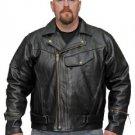 Men's Motorcycle Leather Jacket CCW Pistol Pete Style Concealed Gun Pocket  #510