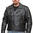 Men's Motorcycle Leather Jacket Classic MC Brando Style Zipout Liner Black 515