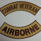 Combat Veteran Airborne Patches Rockers set for vest  Jacket NEW combat Colors