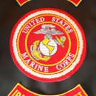 US Marines Semper Fi Patches Rockers & Center Back Patch Set Marine Corps Red