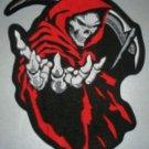 "Red Grim Reaper Death Patch Patch Biker Motorcycle Jacket Vest Shirt Size 5"""