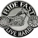 Ride Fast Live Hard Large Back Patch for Motorcycle Biker Vest Jacket silver