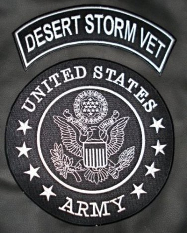 US Army Desert Storm Vet Patches Set Rocker & Center Back Patch For Vest Jacket
