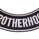 """BrotherHood Rocker Patch Black & White Color for Jacket or Vest New size 11"""""""
