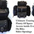 Jumbo Leather Motorcycle SissyBar Bags T Bag Set Travel Touring Pack Set Plain