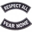 RESPECT ALL FEAR NONE PATCHES SET FOR BIKER MOTORCYCLE VEST JACKET