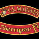 US MARINES CORPS SEMPER  FI USMC MARINES ROCKERS PATCHES FOR VEST JACKET NEW