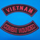 RED VIETNAM COMBAT WOUNDED ROCKERS PATCH SET FOR BIKER VETERAN VEST JACKET NEW