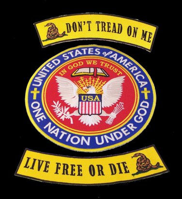 DONT TREAD ON ME LIVE FREE OR DIE BACK PATCHES SET ONE NATION UNDER GOD PATRIOT