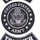 US ARMY TEACHER ROCKERS BACK PATCHES SET FOR BIKER MOTORCYCLE VEST JACKET
