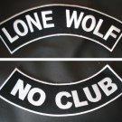 LONE WOLF PATCHES SET NO CLUB BLACK & WHITE MOTORCYCLE BIKER VEST JACKET