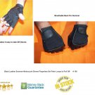 Black Leather Summer Motorcycle Gloves Fingerless Gel Palm & Loops to Pull Off