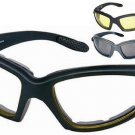 3 Pairs Motorcycle Glasses Set Dark Clear and Yellow Amber Day & Night Riders