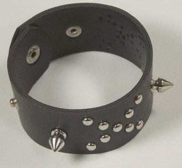 Leather Biker Wristband spike and studds cross Rocker Outlaw 1% Club