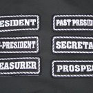 Motorcycle Biker Club Rank Officers Patches Set President Secretary Treasurer 6p