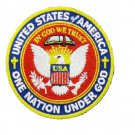 One Nation Under God Large Back Patch Round For Jacket vest In God We Trust