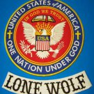 Lone Wolf Biker Patches set one nation under God Patriot Riders for jacket vest