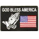 "US Flag Patch God Bless America Praying Hands for vest jacket size 4"" Christian"