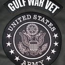 US Army Gulf War Vet Patches Rocker Patch Large for Jacket Vest white on Black