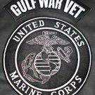 US Marines Gulf War Vet Patches Rocker Set Large for Jacket Vest white on Black