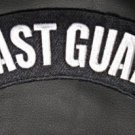 Coast Guard Patch White on Black Rocker Patch Large for Jacket Vest Biker