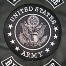 US Army Live to Ride Ride to Live White on Black 3pc Back Patches Rockers Set