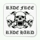 Ride Free Ride Hard Patch 3 Skulls for Biker Motorcycle Vest Jacket  new Size 5""