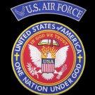 US Air Force Back Patch Set Rockers & Center Patch One Nation Under God 2pc set