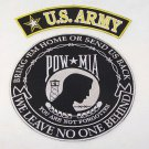 Pow MIA Large Back Patches US Army  top Rocker & Center Patch Biker Motorcycle