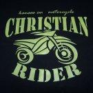 MOTORCYCLE BIKER T SHIRT BLACK CHRISTIAN RIDER PRINT WITH BIKE SIZE L, XL OR XXL
