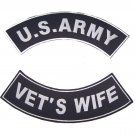 US ARMY VET'S WIFE VETERAN ROCKERS PATCHES SET FOR BIKER MOTORCYCLE VEST JACKET