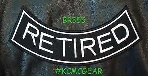 """RETIRED White on Back Patch Bottom Rocker for Biker Veteran Vest Jacket 10"""""""