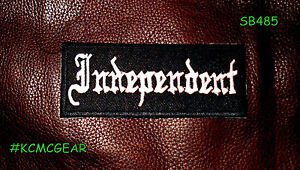 Independent Patch for Biker motorcycle Jacket vest Size 4x1 Inches White on Blac