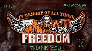 """IN MEMORY OF ALL THOSE FREEDOM for Biker Motorcycle Vest Jacket Back Patches 10"""""""