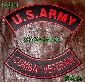 US ARMY COMBAT VETERAN Red on Black Military Patches Set for Biker Vest Jacket
