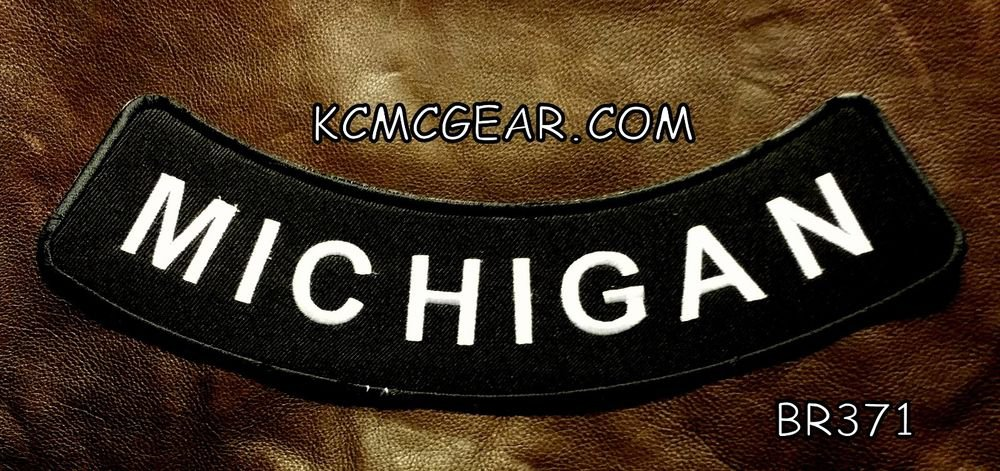 "MICHIGAN ROUND CORNERS Back Patch Bottom Rocker for Biker Veteran Vest 10"""