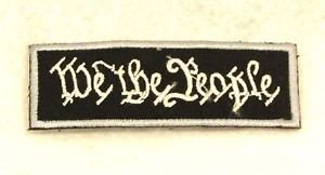 We the people White on black with silver boarde Small Badge for Biker Vest Patch
