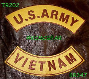 U.S. Army Vietnam Embroidered Patches Brown & Gold Military Patch Set for Jacket